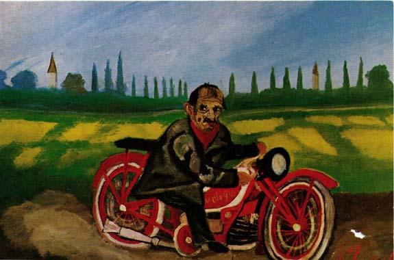 Antonio ligabue autoritratto con la motocicletta