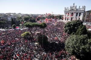 Manifestazione a Piazza San Giovanni
