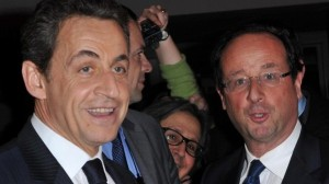 French President Nicolas Sarkozy speaks with Socialist Party candidate for the 2012 French presidential election Francois Hollande during the 'CRIF' (French Jewish community representative council) annual dinner, held at Pavillon d'Armenonville, in Paris, France on February 8, 2012. Photo by Christophe Guibbaud/ABACAPRESS.COM  # 307764_003