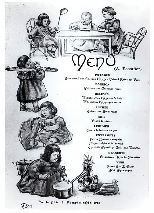 French_School_-_Menu_created_by_Auguste_Escoffier_(1846-1935)_for_Children_and_Babies_c_1900_-_(MeisterDrucke-426271)